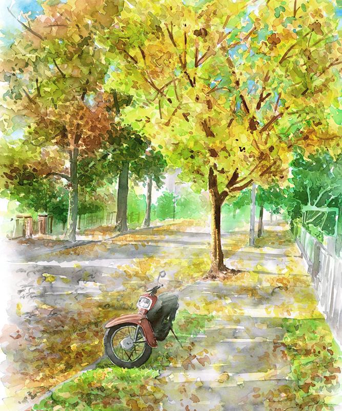 Aquarell Autumn Street