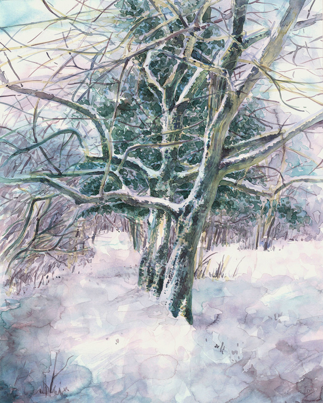 Aquarell Snowy Way